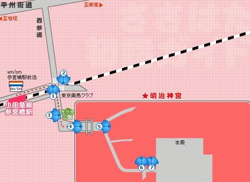 明治神宮へのアクセス(行き方):「参宮橋駅(小田急電鉄:小田原線)」から明治神宮・本殿まで