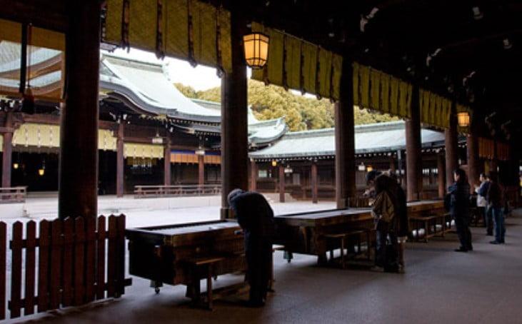 各参道出入り口から、明治神宮の拝殿(お賽銭箱)までたどり着くまでの目安時間